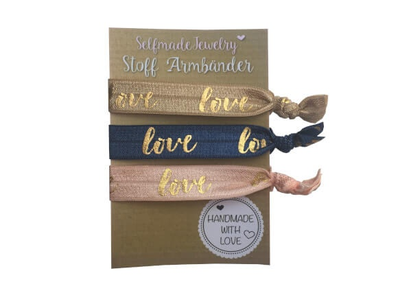 Stoff Armbänder Set Love Gold