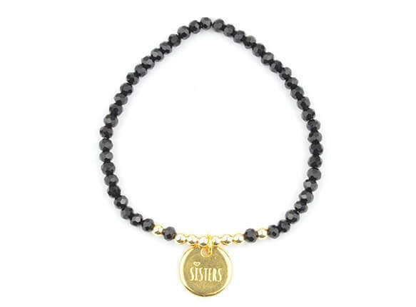 Sisters Armband Schwarz Gold