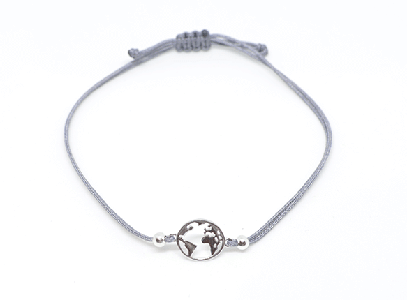 Armband WORLD Silber - 925 Silber - Graues Textilband